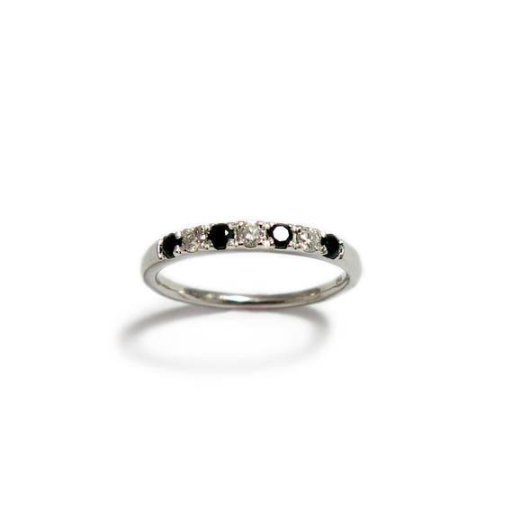 Black wedding Ring Black Onyx Ring Diamond Stacking Ring