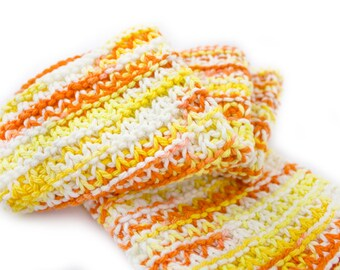 Hand Knit Dishcloth Set - Hand Knit Washcloth - Creamsicle