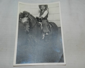 """Vintage Pony Photo - Young girl in cowgirl outfit on Pony - 1964 photograph - Black & White - 5"""" X 7"""" - Collectible Ephemera            2-19"""