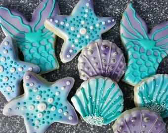 Mermaid Tails, Seashell, Starfish Decorated Sugar Cookies