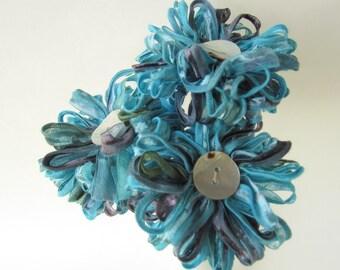 3 Aegean Blue  Ribbon Flowers Handmade Bouquet