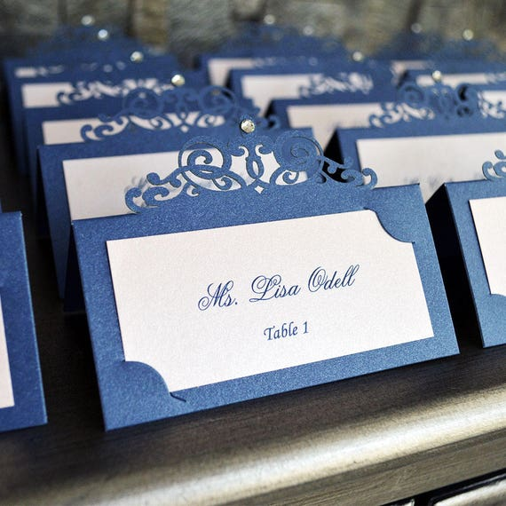 Navy and Blush Laser Cut Place Card with Clear Crystal - Escort Card - Custom Placecard for Weddings, Sweet 16, Quinceañera, Bridal Showers