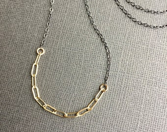 Gold Filled and Oxidized Silver Necklace, Black and Gold Necklace, Simple Minimal Necklace, Mixed Metal Necklace, Drawn Flat Cable Chain