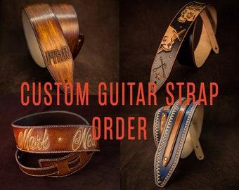Custom Leather guitar strap Unique custom-made gift