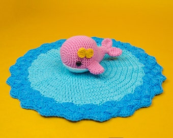 Willa the Whale Lovey / Security Blanket - PDF Crochet Pattern - Instant Download - Blankie Baby Blanket