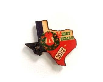 Texas Christmas Wreath 2017 Wooden Refrigerator Magnet