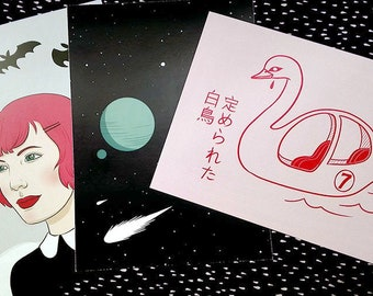3 XL Postcards set: Doomed swan, Mab and Cosmos.