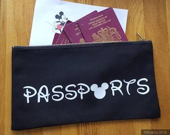 Personalised Disney Family Passport Holder Travel Wallet  Disney Going To Disney  Disney World Travel Bag Passport Holder