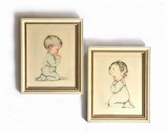 Praying Kids Framed Vintage Prints, Charlot Byj Praying Children Lithographs, Nursery Art, A Child's Prayer, Bless Us All, Framed Lithos