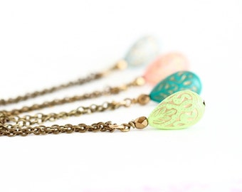 Mothers Day Gift - Moroccan Style - Beaded Necklace - Brass Chain - Pastel necklace - Girlfriend Gift - Bridesmaids Necklaces - Wedding