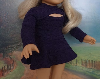 Purple skating dress for American Girl or similar 18 inch doll.