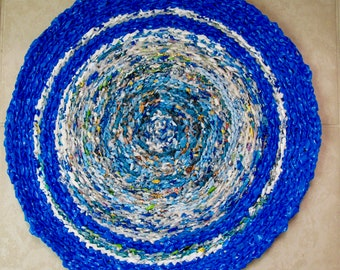 Planet Earth Recycled plastic bag rug, Designer Planet Earth recycled rug, Recycled Earth Designer rug