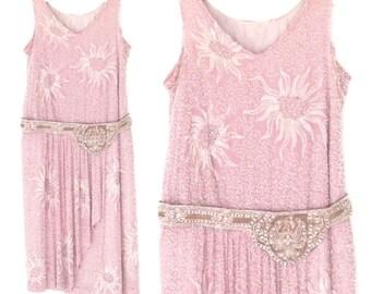 beaded silk dress * 20s dress * 1920s Dress * flapper dress * lavender sparkle party dress * xs