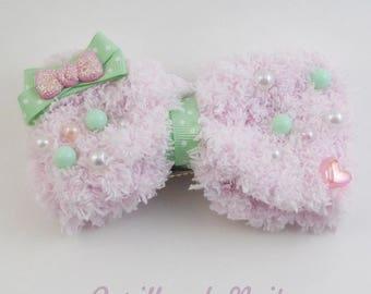 Fuzzy Baby Pink Hair Bow - Mint Dot - 2 way hair clip brooch pin