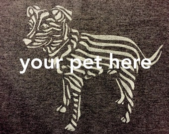 Your pet on a t-shirt! Hand printed original design made to order on soft t-shirt