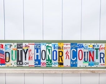 Duty-Honor-Country - Up Cycled License Plate Art - Custom West Point Home Decor - Military Plaque - Army Officer Retirement Gift - Army Grad