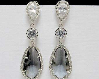 gray bridal earrings , pave bridal earrings , silver charcoal earrings , grey bridesmaids earrings , long statement earrings , weddings ,