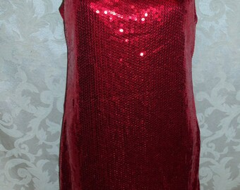 Red Sequin 20s Style Flapper Dress