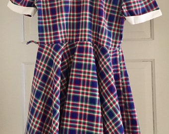 Vintage 1950s Girls' Dainty Togs Blue Red Green Plaid Cotton Short Sleeve Dress 8 10