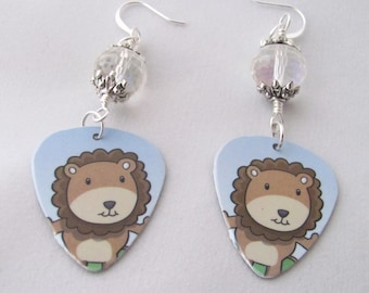 Brown Lion Guitar Pick Plastic Faceted Glass Earrings Upcycled Gift Card