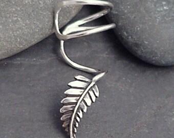 """Sterling Leaf EAR CUFF - """"New Leaf"""" Swirly Silver Ear Cuff"""