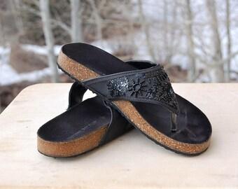 Black Cork Bottom Sequin Sandals Montego Bay Size 7