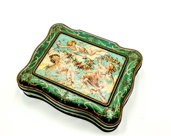 Antique French tin box Bisquits Olibet Paris with angels ribbons and roses garlands early 1900's, vintage french tin box, romantic box