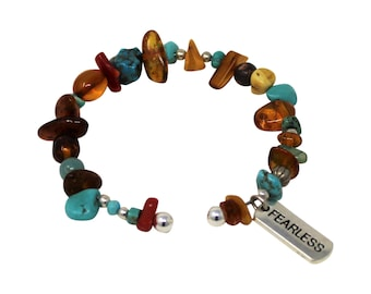 Amber & Turquoise Memory Wire Bracelet