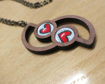 Wood necklace, laser cut, Hearts necklace, Valentine's necklace