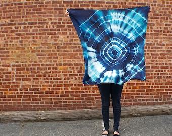 Dark Blue Shibori Hand Dyed Large Square Silk Scarf -  A111