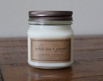 White Tea + Ginger Soy Mason Jar Candles - 8 ounce