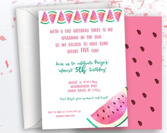 Watermelon Birthday Invitation, Early Birthday Party, Pool Party, Girl Birthday