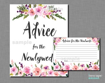 Advice for the NewlyWeds Game Printable, Bridal Shower Activity, Printable Floral Bridal Shower Advice Card, Downloadable Bridal Shower Game