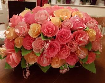 Pillow shaped large paper roses flower arrangement