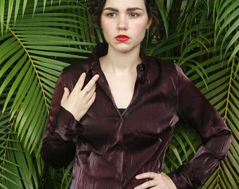 90s Shiny Iridescent Deep Red Wine Colored Button Up Blouse