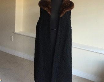 Vintage Black Persian Lamb Fur Vest Coat Mink Collar 1950