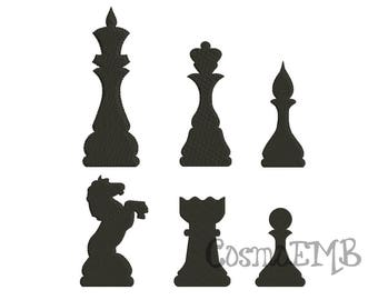 4 Size Chess Piece Silhouette Embroidery  design Machine Embroidery - Digital INSTANT DOWNLOAD