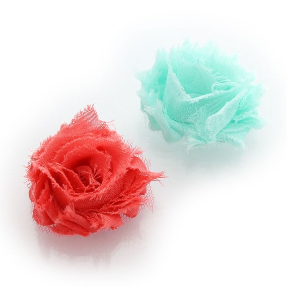 Shabby rose baby hair flower clip pair aqua coral pink mightylinksfo
