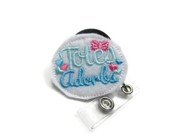 Blue Totes Adorbs Badge Reel, Totally Adorable Badge Reel, Girly Badge Reel, Feltie Badge Reel, Name Tag Holder