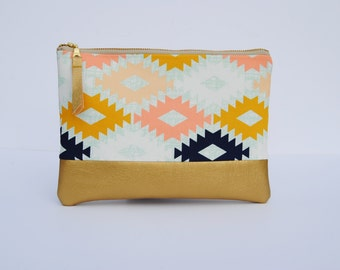 Gold aztec clutch, Aztec zipper pouch, southwestern clutch, tribal clutch, navy gold and coral bag, geometric print bag, bridesmaid gifts