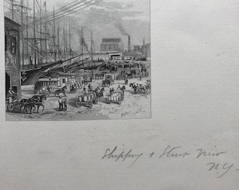 Old Lithograph of New York Docks Signed William Crothers Fitler (1857-1915)