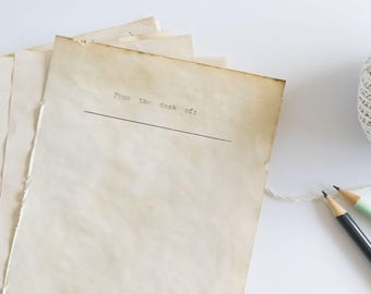 "set of 20 | Typewritten ""From the Desk of"" Stationery, Coffee Stained, Authentic Typewriter Print"