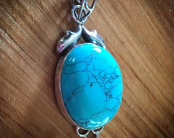Large Sterling Silver 925 Turquoise Cabachon Pendant CLOSEOUT