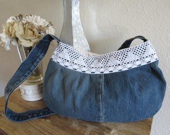 Pleated Denim Shoulder Bag