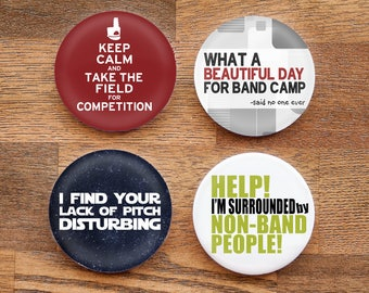Set of Four Funny Marching Band 2.25 inch Pinback Buttons or Magnets - Set 2