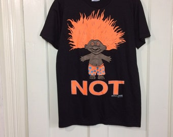 deadstock 1990s 1992 Troll Not neon day glow orange print t-shirt size medium 18x27 cartoon character black cotton Hanes made in USA NOS