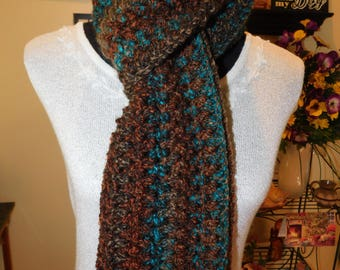 Handmade, Crochet, Multi-color, Browns and Greens, Chunky Weight Scarf