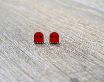 Pac-Man Ghost Stud Earrings - Hand Painted
