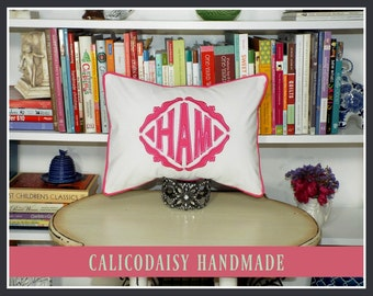 The Veronique Applique Framed Monogrammed Pillow Cover - 12 x 16 lumbar
