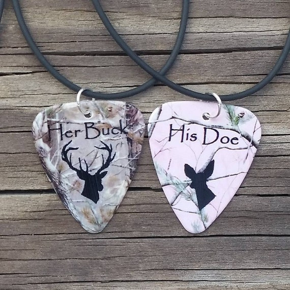 Her Buck His Doe Necklaces Guitar Pick Matching For Couples
